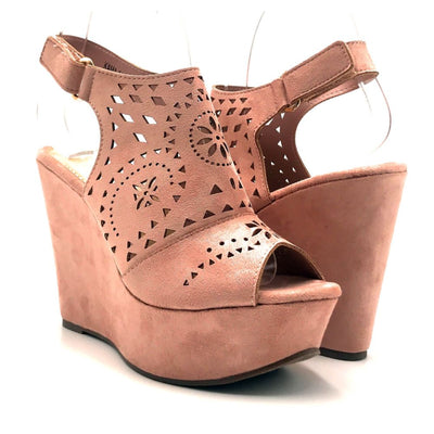 Refresh Kama-01 Mauve Color Wedge Both Shoes together, Women Shoes
