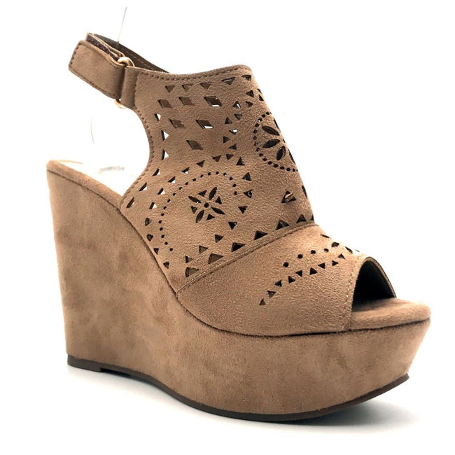 Refresh Kama-01 Taupe Color Wedge Right Side View, Women Shoes