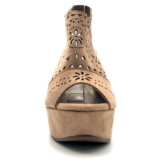 Refresh Kama-01 Taupe Color Wedge Front View, Women Shoes
