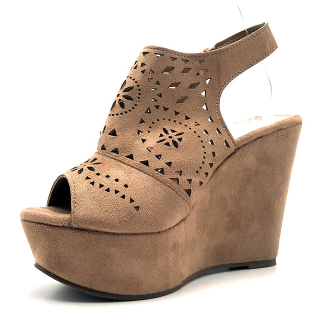Refresh Kama-01 Taupe Color Wedge Left Side view, Women Shoes