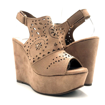 Refresh Kama-01 Taupe Color Wedge Both Shoes together, Women Shoes