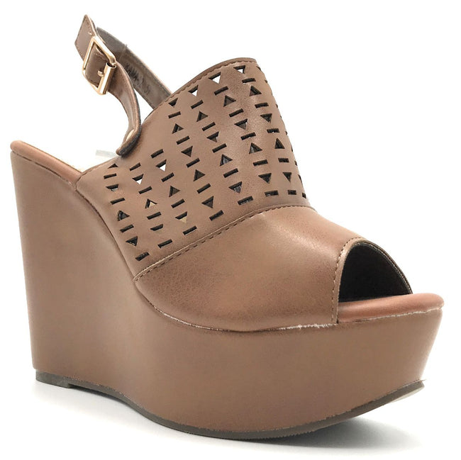Refresh Kama-02 Tan Color Wedge Shoes for Women