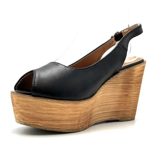 Refresh Kite-01 Black Color Wedge Left Side view, Women Shoes