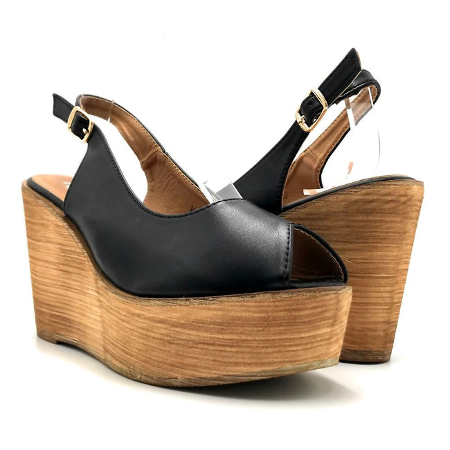 Refresh Kite-01 Black Color Wedge Both Shoes together, Women Shoes