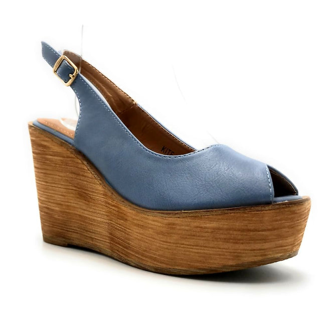 Refresh Kite-01 Blue Color Wedge Right Side View, Women Shoes