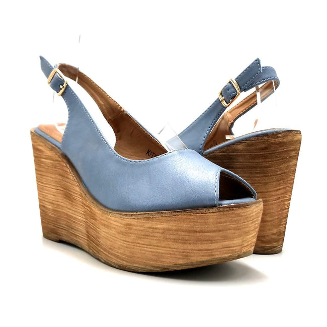Refresh Kite-01 Blue Color Wedge Both Shoes together, Women Shoes