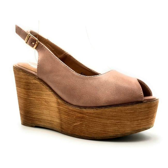 Refresh Kite-01 Mauve Color Wedge Right Side View, Women Shoes
