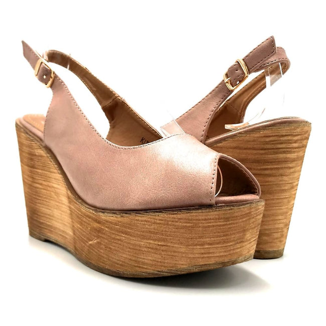 Refresh Kite-01 Mauve Color Wedge Both Shoes together, Women Shoes