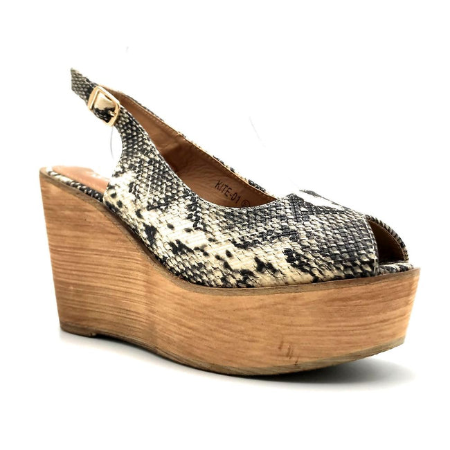 Refresh Kite-01 Snake Color Wedge Right Side View, Women Shoes