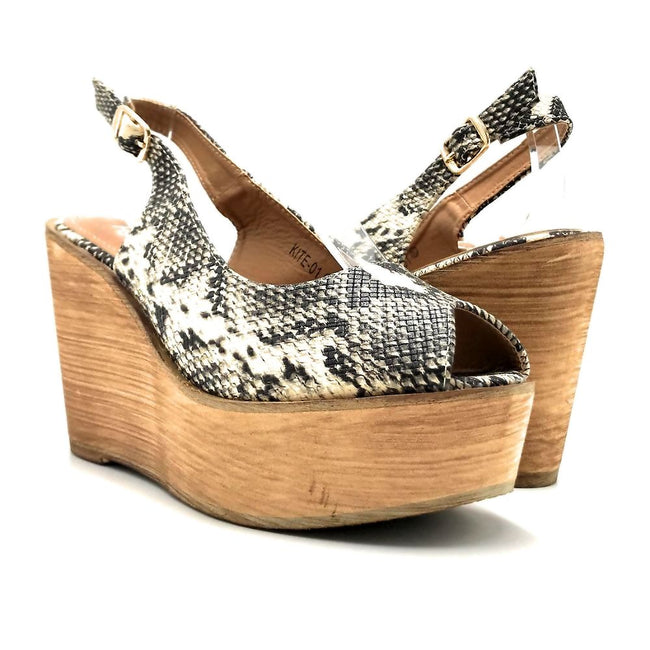 Refresh Kite-01 Snake Color Wedge Both Shoes together, Women Shoes