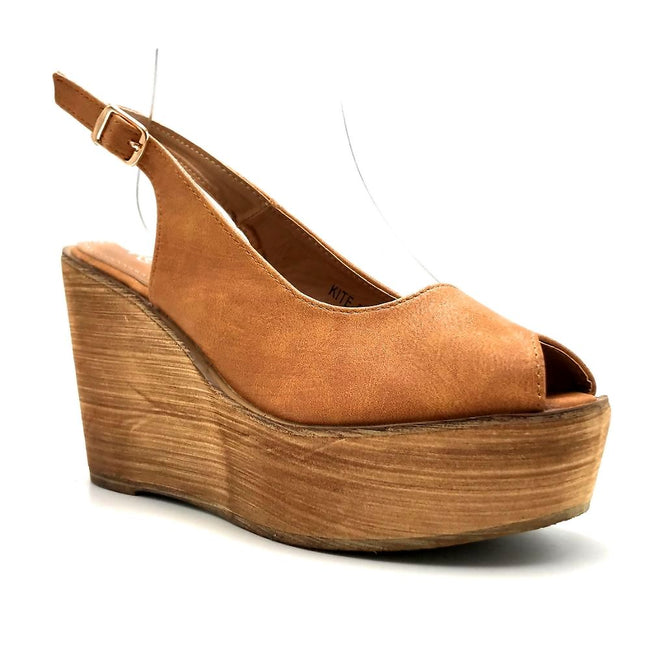 Refresh Kite-01 Tan Color Wedge Right Side View, Women Shoes