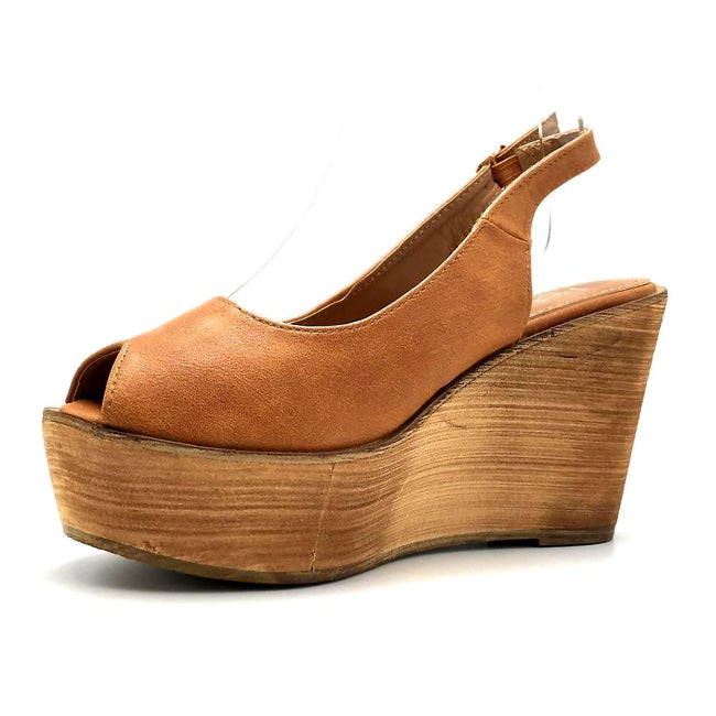 Refresh Kite-01 Tan Color Wedge Left Side view, Women Shoes