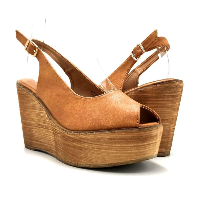 Refresh Kite-01 Tan Color Wedge Both Shoes together, Women Shoes