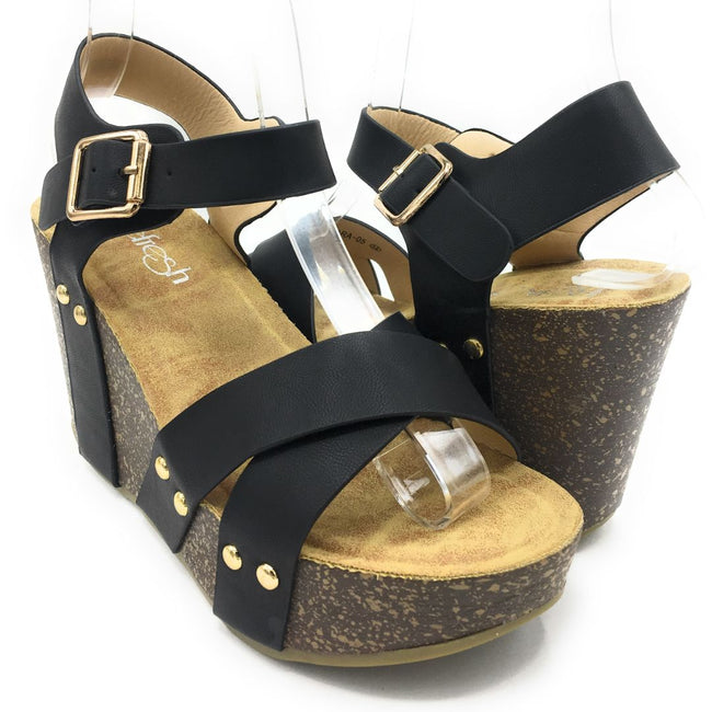 Refresh Mara-05 Black Color Wedge Shoes for Women