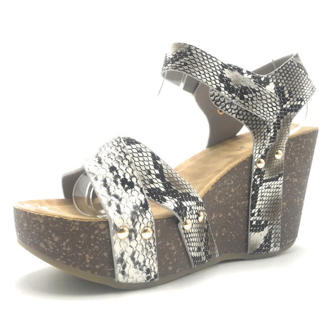 Refresh Mara-05 Snake Color Wedge Shoes for Women