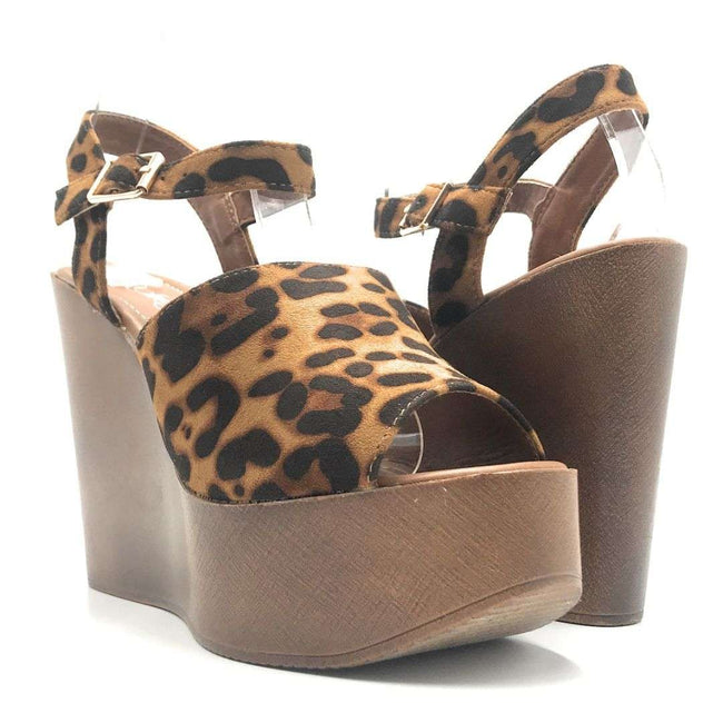 Refresh Rebeca-03 Leopard Color Wedge Shoes for Women