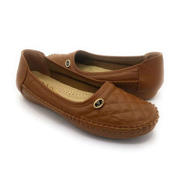 SBUP F8-16 Camel Color Ballerina Shoes for Women