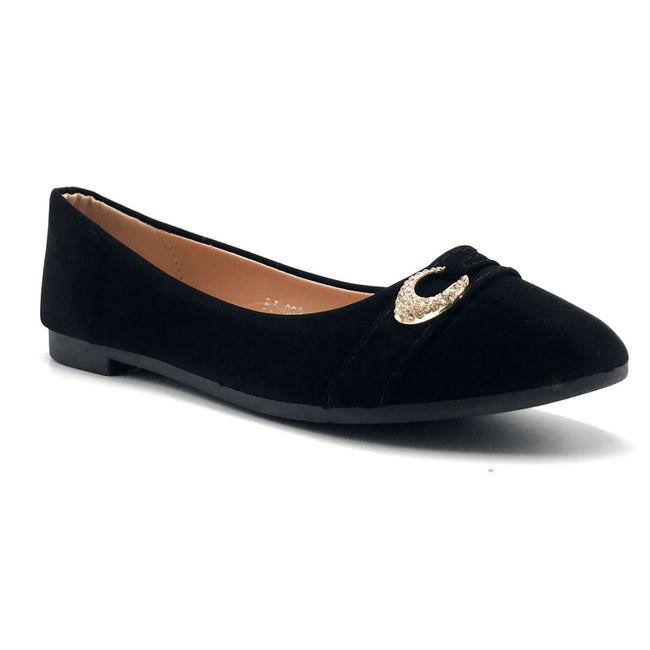 SBUP FJ-002 Black NB Color Ballerina Right Side View, Women Shoes