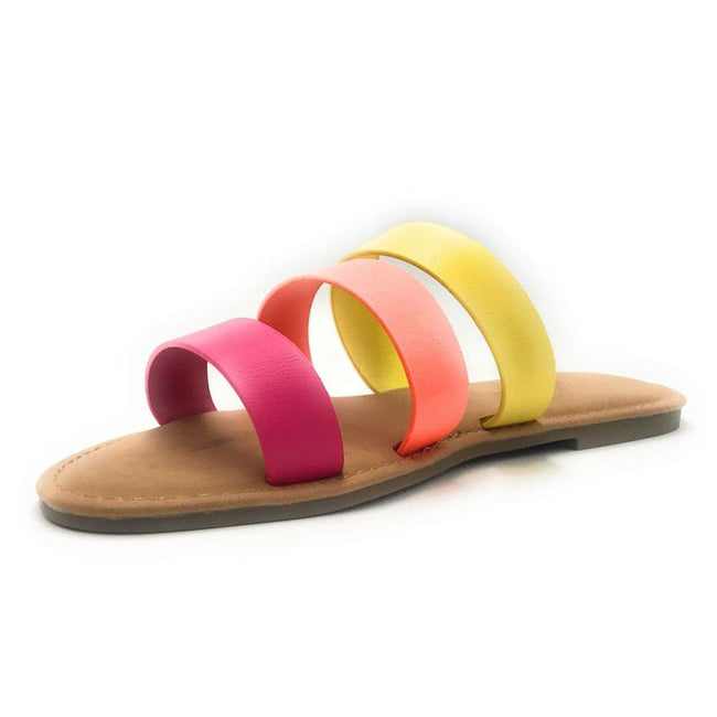Sunny Feet Shoreline-91 Neon Pink Color Flat-Sandals Shoes for Women