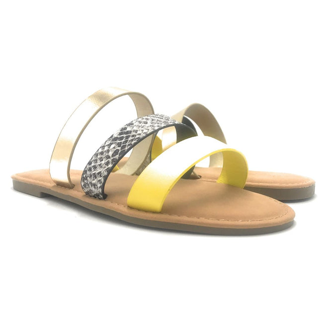 Sunny Feet Shoreline-91 Neon Yellow Color Flat-Sandals Shoes for Women