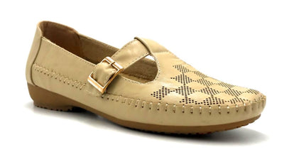 Sup Trading F28-123 Apricot Color Moccasin Right Side View, Women Shoes