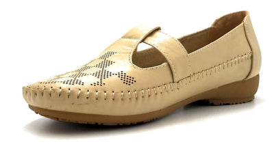 Sup Trading F28-123 Apricot Color Moccasin Left Side view, Women Shoes