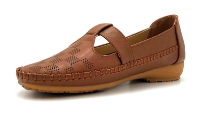 Sup Trading F28-123 Camel Color Moccasin Left Side view, Women Shoes