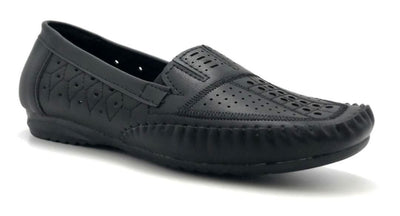 Sup Trading F7-9 Black Color Moccasin Right Side View, Women Shoes