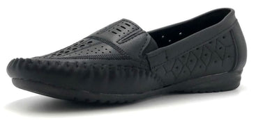 Sup Trading F7-9 Black Color Moccasin Left Side view, Women Shoes