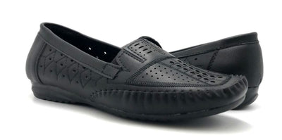 Sup Trading F7-9 Black Color Moccasin Both Shoes together, Women Shoes