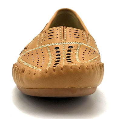 Sup Trading F7-9 Camel Color Moccasin Front View, Women Shoes