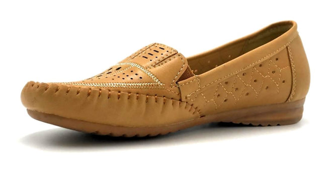 Sup Trading F7-9 Camel Color Moccasin Left Side view, Women Shoes