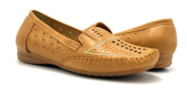 Sup Trading F7-9 Camel Color Moccasin Both Shoes together, Women Shoes