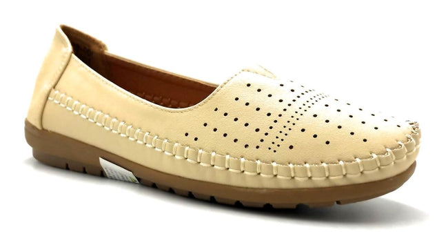 Sup Trading F808-001 Beige Color Moccasin Right Side View, Women Shoes
