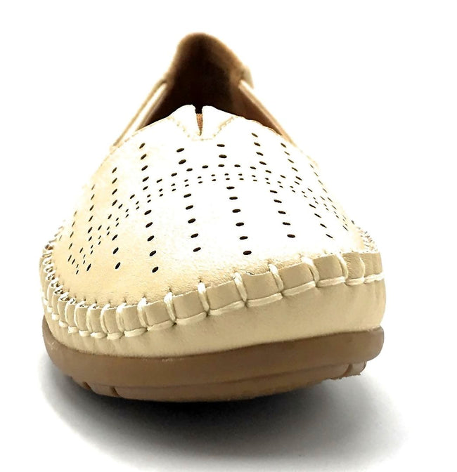 Sup Trading F808-001 Beige Color Moccasin Front View, Women Shoes