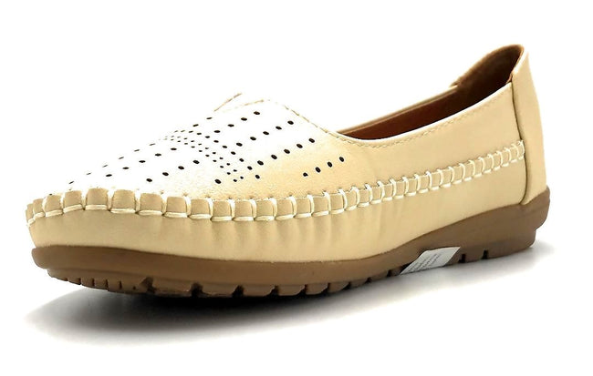 Sup Trading F808-001 Beige Color Moccasin Left Side view, Women Shoes