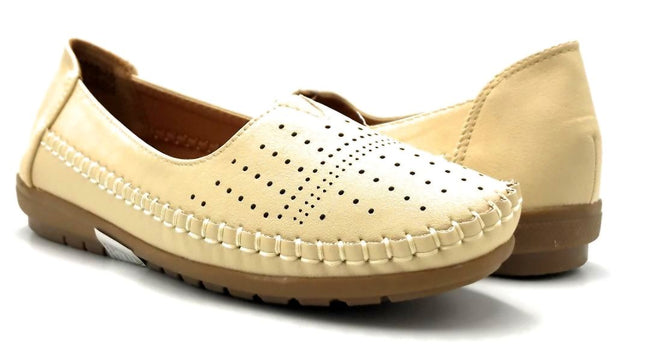 Sup Trading F808-001 Beige Color Moccasin Both Shoes together, Women Shoes