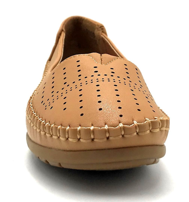 Sup Trading F808-001 Camel Color Moccasin Front View, Women Shoes