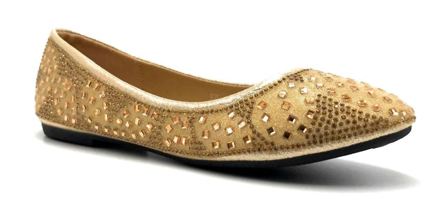 Sup Trading FU-1704 Gold Color Ballerina Right Side View, Women Shoes