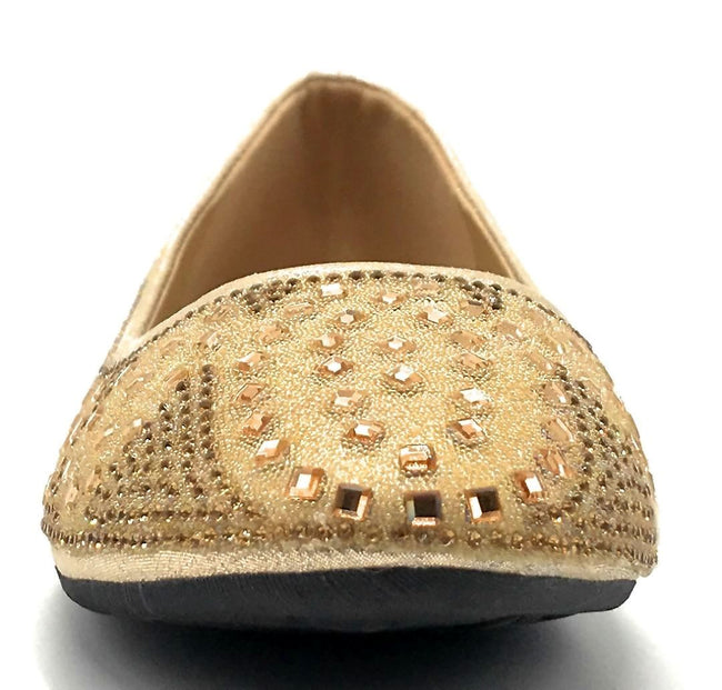 Sup Trading FU-1704 Gold Color Ballerina Front View, Women Shoes