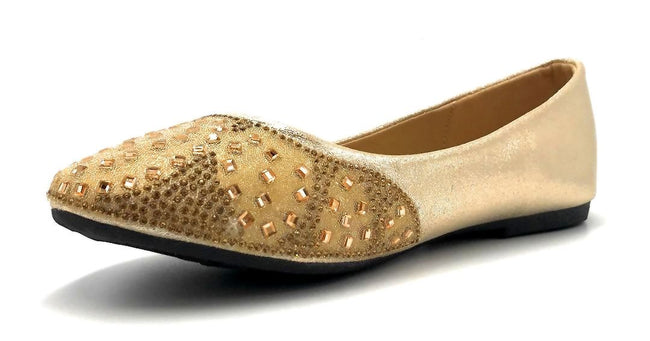 Sup Trading FU-1704 Gold Color Ballerina Left Side view, Women Shoes
