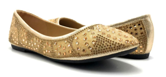 Sup Trading FU-1704 Gold Color Ballerina Both Shoes together, Women Shoes