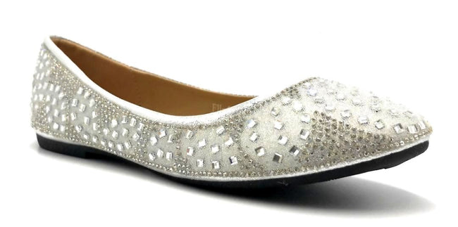 Sup Trading FU-1704 Silver Color Ballerina Right Side View, Women Shoes