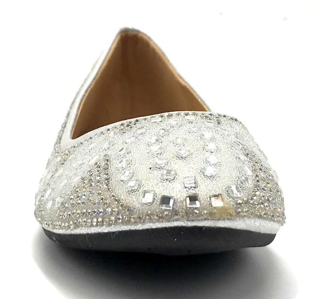 Sup Trading FU-1704 Silver Color Ballerina Front View, Women Shoes