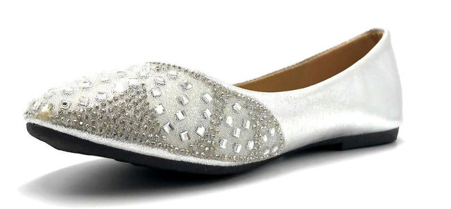 Sup Trading FU-1704 Silver Color Ballerina Left Side view, Women Shoes