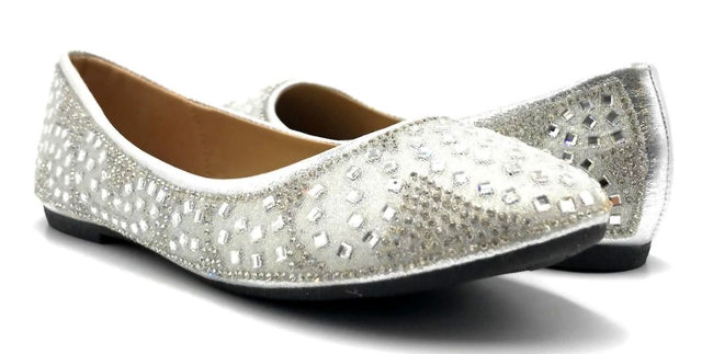 Sup Trading FU-1704 Silver Color Ballerina Both Shoes together, Women Shoes