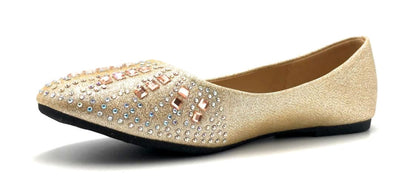 Sup Trading FU-2001 Champagne Color Ballerina Left Side view, Women Shoes