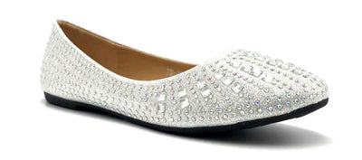Sup Trading FU-2001 Silver Color Ballerina Right Side View, Women Shoes
