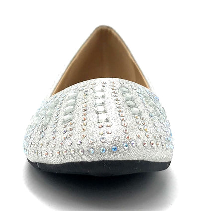 Sup Trading FU-2001 Silver Color Ballerina Front View, Women Shoes