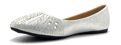 Sup Trading FU-2001 Silver Color Ballerina Left Side view, Women Shoes